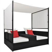 vidaXL Záhradná posteľ so strieškou čierna 190x130 cm polyratanová