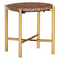 vidaXL Konferenčný stolík hnedý 40x40x40 cm pravý kameň s mramorovou textúrou