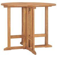 vidaXL Skladací záhradný jedálenský stôl Ø90x75 cm tíkový masív