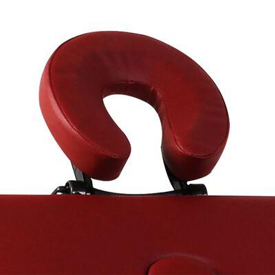 Červený skladací masážny stôl s 3 zónami a hliníkovým rámom