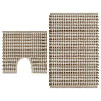 vidaXL Ručne tkaná jutová kúpeľňová predložka, látka, prírodná+biela