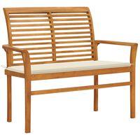 vidaXL Záhradná lavička a krémová podložka 112 cm teakový masív