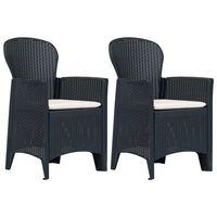 vidaXL Záhradné stoličky 2 ks antracitové plastové s vankúšmi ratanový vzhľad