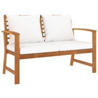 vidaXL Záhradná lavička s krémovými vankúšmi 120 cm akáciový masív