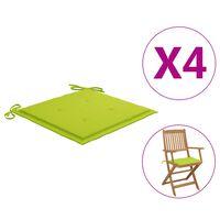 vidaXL Podložky na záhradné stoličky 4 ks jasnozelené 40x40x4cm látka