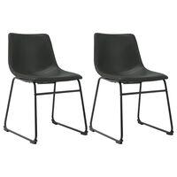 vidaXL Jedálenské stoličky 2 ks, sivé, umelá koža