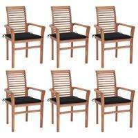 vidaXL Jedálenské stoličky 6 ks čierne podložky tíkový masív