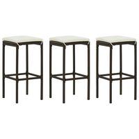 vidaXL Barové stoličky s vankúšmi 3 ks hnedé polyratan