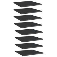 vidaXL Prídavné police 8 ks, lesklé čierne 40x40x1,5 cm, drevotrieska