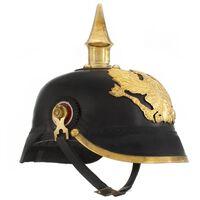 vidaXL Nemecká pruská starožitná replika prilby pre LARP čierna oceľová