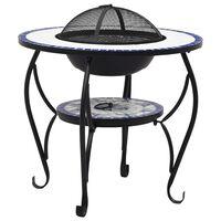 vidaXL Mozaikový prenosný stôl s ohniskom modro-biely 68 cm keramický