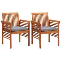 vidaXL Záhradné jedálenské stoličky s vankúšmi 2 ks akáciový masív