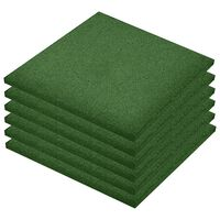 vidaXL Protipádové dlaždice 6 ks zelené 50x50x3 cm gumené