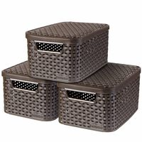 Curver Úložné boxy s vrchnákmi Style 3 ks hnedé veľkosť S 240646