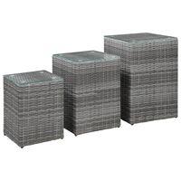 vidaXL Bočné stolíky so sklenenou doskou 3 ks sivé polyratanové