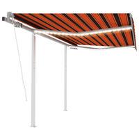 vidaXL Automatická markíza s LED a senzorom vetra 3,5x2,5 m oranžovo-hnedá
