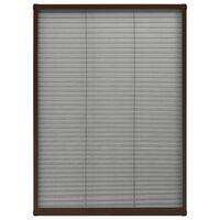 vidaXL Plisovaná okenná sieťka proti hmyzu, hliník, hnedá 80x120 cm