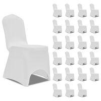 vidaXL Návleky na stoličku biele 24 ks naťahovacie