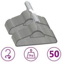 vidaXL 50-dielna sada vešiakov na oblečenie protišmyková sivá zamatová