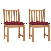 vidaXL Záhradné stoličky 2 ks s podložkami tíkový masív