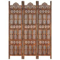 vidaXL Ručne vyrezávaný 3-panelový paraván hnedý 120x165 cm mangovníkový masív