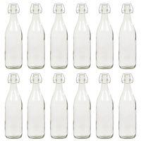 vidaXL Sklenené fľaše s pákovým uzáverom 12 ks 1 L