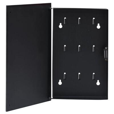 vidaXL Skrinka na kľúče s magnetickou doskou čierna 30x20x5,5 cm
