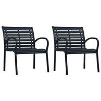 vidaXL Záhradné stoličky 2 ks čierne oceľové a WPC