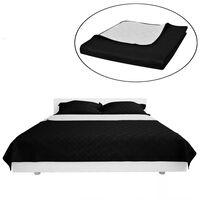 Obojstranná posteľná prikrývka, čierna/biela, 230 x 260 cm