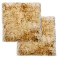 vidaXL Podsedáky na stoličky 2 ks hnedo-biele 40 x 40 cm pravá ovčia kožušina