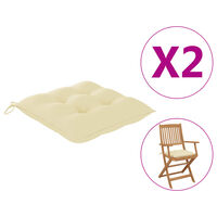vidaXL Podložky na stoličku 2 ks, krémovo biele 40x40x7 cm, látka