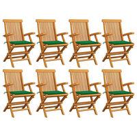 vidaXL Záhradné stoličky so zelenými podložkami 8 ks tíkový masív