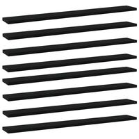 vidaXL Prídavné police 8 ks, čierne 80x10x1,5 cm, drevotrieska