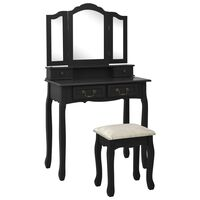 vidaXL Toaletný stolík so stoličkou, čierny 80x69x141 cm, paulovnia