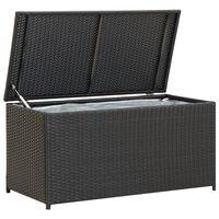 vidaXL Záhradný úložný box čierny 100x50x50 cm polyratanový