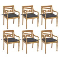 vidaXL Batavia stoličky s podložkami 6 ks tíkový masív