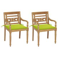 vidaXL Batavia stoličky 2 ks s jasnozelenými vankúšmi masívny tík