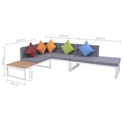 vidaXL 4-dielna záhradná sedacia súprava s vankúšmi hliník a WPC