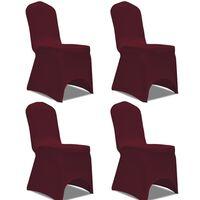vidaXL Naťahovací návlek na stoličku, 4 ks, bordový