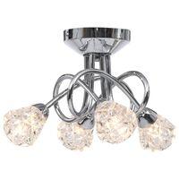 vidaXL Stropná lampa s brúsenými tienidlami na 4 žiarovky G9, sklo