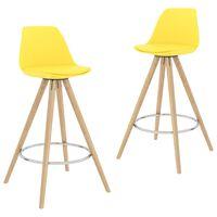 vidaXL Barové stoličky 2 ks žlté PP a masívne bukové drevo