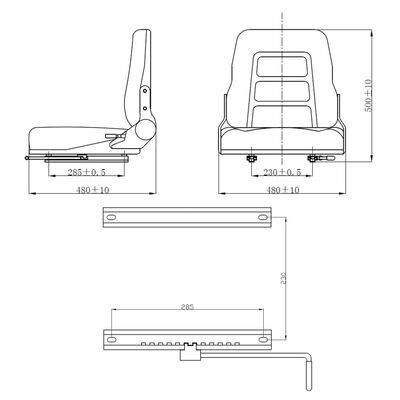 vidaXL Sedadlo na vysokozdvižný vozík & traktor s nastaviteľným operadlom, čierne