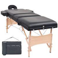 vidaXL Sklápací 3-dielny masérsky stôl, 10 cm hrubý, čierny