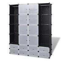 vidaXL Modulárna skrinka, 18 priečinkov, čierna a biela 37x146x180,5cm