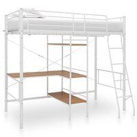 vidaXL Poschodová posteľ s rámom stola biela 90x200 cm kovová
