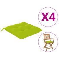 vidaXL Podložky na stoličku 4 ks, jasnozelené 40x40x7 cm, látka