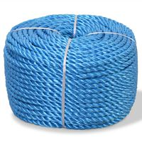 vidaXL Pletené lano polypropylénové 12 mm 250 m modré