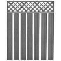 vidaXL Náhradné plotové dosky, WPC 7 ks, 170 cm, sivé