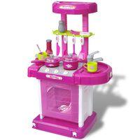 Detská kuchynka na hranie, ružová, svetelné a zvukové efekty