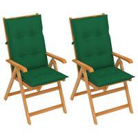 vidaXL Záhradné stoličky 2 ks so zelenými podložkami tíkový masív